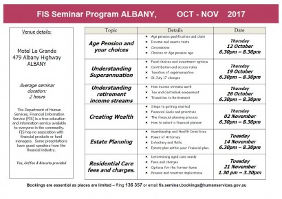 Financial Information Service - Free Seminars Albany  image