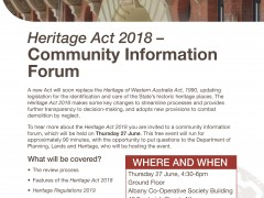 Heritage Act 2018 - Community Information Forum image