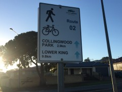 Commuter route signs show the way for cyclists and pedestrians image